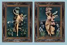 Set of 2 ART NOUVEAU VICTORIAN FAIRIES Dancing in Moonlight Antique ART PRINTS