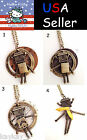 Antique Gold Retro Old Style Robot Pendant with Leather Necklace - Yellow Brown
