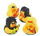 Set of 4 Big Hair Rock Star Music Rubber Ducks DUCKYS Duckies Or Sticker #161277