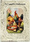 Country Vintage Farm Animals ROOSTER HEN CHICKS Antique CeilingTile ART PRINT