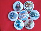 l skateboard buttons pinsset of 7 old school set#1  badges 80s