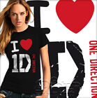 T shirt Maglietta I love One Direction 1D Donna B&C Sheldon fitted 1 D