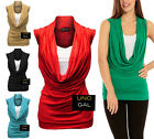 LADIES WOMENS COWL SCOOP NECK STRETCH CONTRAST INSERT VEST TOP T SHIRT LONG TOPS