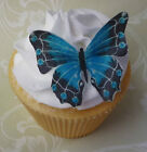 blue edible wafer butterfly cupcake cake toppers birthday DIY or PRE-CUT