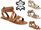 NEW WOMENS LADIES REAL LEATHER FLAT ANKLE STRAP GLADIATOR SANDALS SHOES SIZE