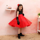 Flower Girls baby Black & Red Princess Shiny Lovely Birthday Party Pageant dress