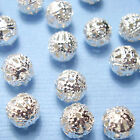 Silver Plated Metal Filigree Round Ball Spacer Beads 4mm 8mm & 10mm