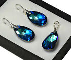 925 Silver Earrings/Set made with Swarovski Crystals 22mm Bermuda Blue - Pear