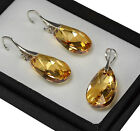 925 Silver Earrings/Set made with Swarovski Crystals 22mm PEAR -Golden Shadow