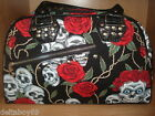 Skull Bag Womens Hand Shoulder Fashion Roses Tattoo Design  Brand New Large Zip