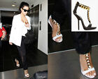 Ladies T-Strappy Chain Open Toe Pumps Leather Heels Gladiator Sandals Shoes