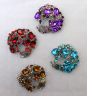 STUNNING VINTAGE SWIRL COLOURED CLUSTER BROOCH IN VARIOUS COLOURS.  (NB16)