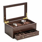 "WATCH BOXES - BROWN ""CROCO"" LEATHER WATCH BOX - VALET BOX"