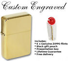 Engraved gold colour STAR lighter with pack of zippo flints, gift pouch, boxed