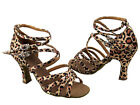 "50086 Leopard Leather Salsa Ballroom Latin Tango Dance Shoes 2.5"" / 3"" Very fine"
