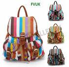 NEW GIRLS NAUTICAL STRIPE RETRO RUCKSACK BACKPACK SCHOOL COLLEGE SHOULDER BAG