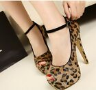 New sexy women's small fish mouth cingulum leopard print high heel single shoes