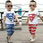Baby Outfits Set Tops Shirts + Short Pants Super Boy Clothes Kids Sportwear New