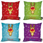 """PERSONALISED REINDEER RUDOLPH CHRISTMAS DESIGN IDEAL GIFT 18"""" X 18"""" CUSHION"""