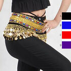 Gold Coins Belly Dance Chain Hip Scarf Skirt Costume Wrap Band Gemstone Velvet