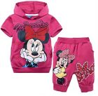 Lovely Kids Girls Minnie Mouse Hoodies+Shorts Outfits Suits Aged 2-8years