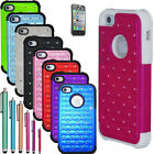 New Hybrid Rugged Rubber Bling Crystal Hard Case Cover for iPhone 4 4S 4G +Gifts