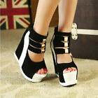 Womens High Heel Shoes Sponge Thick Bottom Peep-toe 15cm Ultra High Wedge Heel