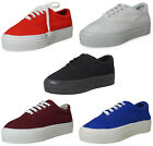 LADIES WOMENS ANKLE CREEPERS TRAINERS TOP CANVAS LACE UP FLAT PUMPS SHOES SIZE