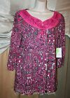 Womans Pappagallo Tie Front Top Long Sleeve Paisley Abstract Red NEW NWT