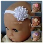 Satin Flower Rosette Baby Headband-Different styles/colours available (Lights)
