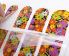 12pcs Easy to use Stick on Nail Art Wraps Decal Sticker Flower Skull Glitter