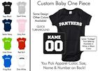 Panthers Baby One Piece - Custom Name and Number, Creeper, Onesie