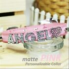 Personalized Luxury Leather Foxy Dog/Cat Collar- Matte Pink  w/ Letters&Charms