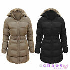 Womens Puffer Quilted Padded Fur Hooded Ladies Belted Parka Jacket Winter Coat