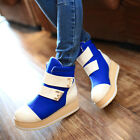 Womens Sweet Lace Up Buckles Patent Leather Platform Winter Ankle Sneaker Boots