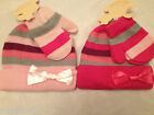 LITTLE BABY/INFANTS GIRLS 2 PIECE,HAT & MITTENS SET,STRIPED & SATIN BOW, 0-24MTH
