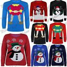 Womens Ladies Xmas 3 Buttons Snowman Elf Sweater Long Sleeves Knitted Jumper Top
