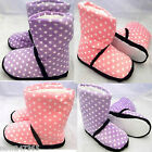 Slipper Boots Cosy Fur Pink Lilac Purple Stars  Size 3 to 8 Ladies Girls NEW