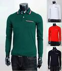 New Mens Stylis Premium Design Colour Line Point Long-Sleeve Polo T-Shirts Tops.