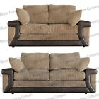 BRAND NEW LAVISH 3+2 SEATER SOFAS - BEIGE AND BROWN - FORMAL BACK CUSHIONS