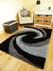 MODERN BLACK SILVER CHARCOAL THICK SHAGGY RUG MAT HALL DINING BEDROOM CARPETS