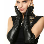 WARMEN Ladies Opera Long Genuine Soft Nappa Leather Half Finger Gloves