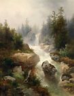 Oil painting Fascinating landscape with brook crossing the mountains canvas