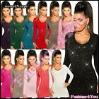 Women's Jumper Pullover Sexy Ladies Fitted Sequins Dress One Size 6,8,10,12 UK
