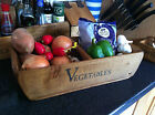 (NEW)VINTAGE STYLE VEG BASKET~RUSTIC WOODEN BASKETS~SMALL/MEDIUM/LARGE SHABBY