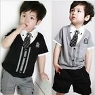 """Boys Baby Kids Outfits Set """"Tie"""" Suit Birthday Party Summer Clothing Age 2-7y"""
