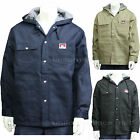 Men's Jackets Ben Davis Fleece Lining Hooded Jacket Snap Front Black Navy Khaki