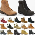 LADIES WOMENS ARMY COMBAT FLAT GRIP SOLE FUR LINED WINTER ANKLE BOOTS SHOES SIZE