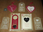 WOODEN LOVE / HOME WALL HANGINGS / SIGNS / SLOGANS/SHABBY CHIC-CHOICE OF DESIGN