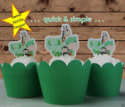 Baby Animals Green edible wafer Cupcake Cake Toppers Baby Shower PRE-CUT cute